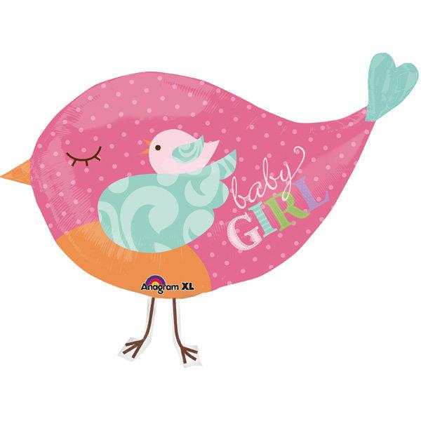 Воздушный шар - розовая птичка