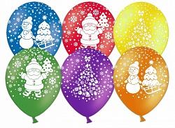 Шар Новый год (дед мороз, елочка, снеговик), Ассорти, 5 ст ...